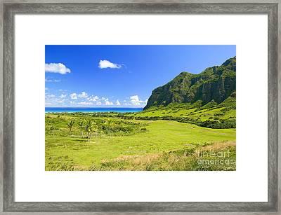 Kualoa Ranch Mountains Framed Print by Dana Edmunds - Printscapes