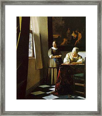 Lady Writing A Letter With Her Maid Framed Print by Johannes Vermeer