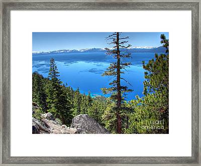Lake Tahoe From Flume Trail Over Sand Harbor State Park Framed Print by Scott McGuire