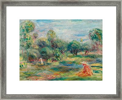 Landscape At Cagnes Framed Print by Pierre Auguste Renoir