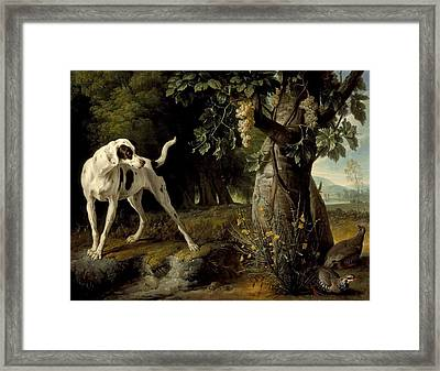 Landscape With A Dog And Partridges Framed Print by Celestial Images