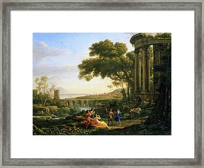 Landscape With Nymph And Satyr Dancing Framed Print by Claude Lorrain