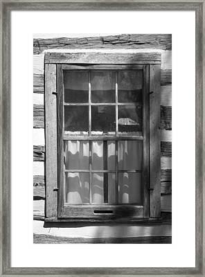Lattice Window On Log Cabin Framed Print by Donald  Erickson