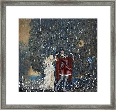 Lena Dances With The Knight Framed Print by John Bauer