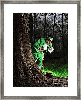 Leprechaun With Pot Of Gold Framed Print by Oleksiy Maksymenko