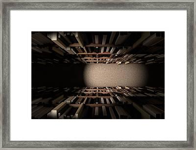 Library Bookshelf Aisle Framed Print by Allan Swart