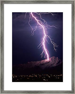 Lightning Over Tucson Framed Print by Keith Kent