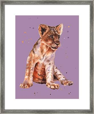 Lion Painting Framed Print by Alison Fennell