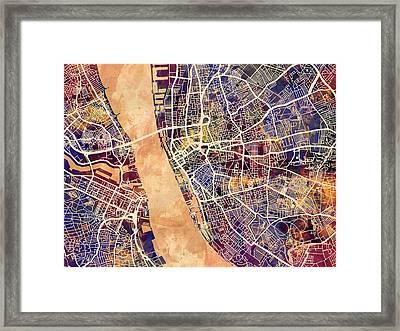 Liverpool England Street Map Framed Print by Michael Tompsett