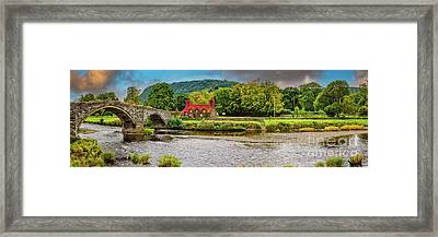 Llanrwst Bridge And Tea Room Framed Print by Adrian Evans