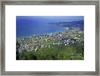 Looking Over Jounieh Bay From Harissa Framed Print by Sami Sarkis