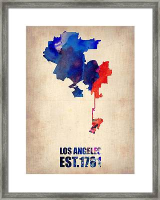 Los Angeles Watercolor Map 1 Framed Print by Naxart Studio