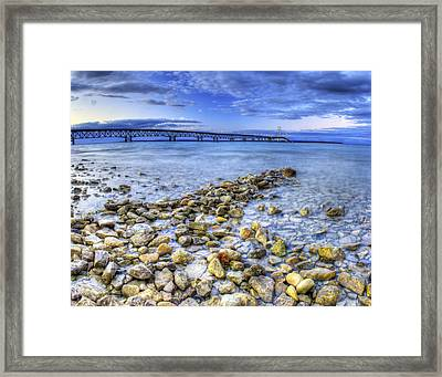 Mackinac Bridge From The Beach Framed Print by Twenty Two North Photography