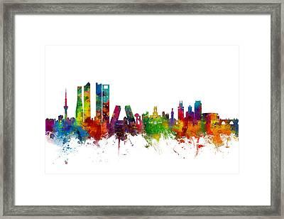 Madrid Spain Skyline Framed Print by Michael Tompsett