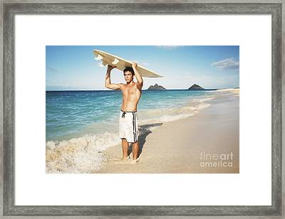 Man At The Beach With Surfboard Framed Print by Brandon Tabiolo - Printscapes