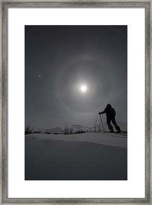 Man Snowshoeing Along The Dempster Framed Print by Robert Postma