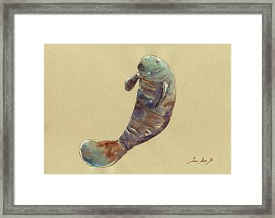 Manatee Framed Print by Juan  Bosco