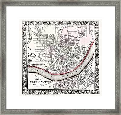 Map Of Cincinnati Ohio 1864 Framed Print by Mountain Dreams