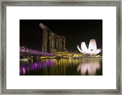 Marina Bay Sands Hotel And Artscience Museum In Singapore Framed Print by Zoe Ferrie