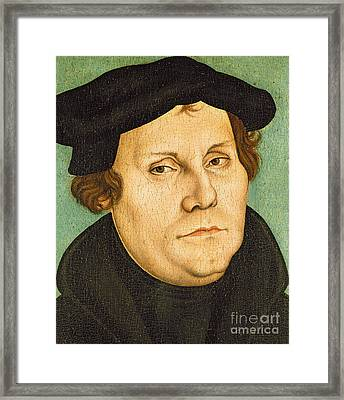 Martin Luther Framed Print by Lucas the elder Cranach