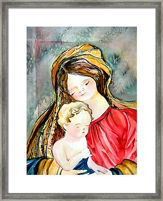 Mary And Baby Jesus Framed Print by Mindy Newman