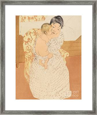 Maternal Caress Framed Print by Mary Stevenson Cassatt