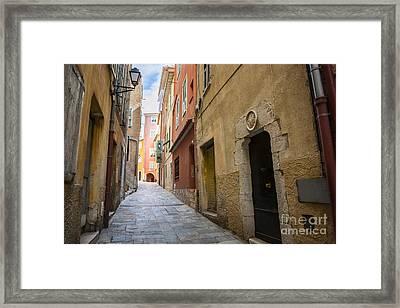 Medieval Street In Villefranche-sur-mer Framed Print by Elena Elisseeva