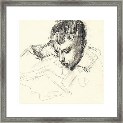 Michel Monet Reading Framed Print by Claude Monet