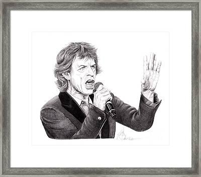 Mick Jagger Framed Print by Murphy Elliott