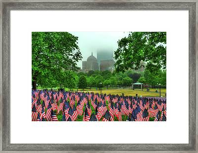 Military Heroes Garden Of Flags - Boston Common Framed Print by Joann Vitali