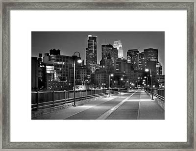 Minneapolis Skyline From Stone Arch Bridge Framed Print by Jon Holiday
