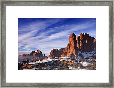 Mist Rising In Arches National Park Framed Print by Utah Images