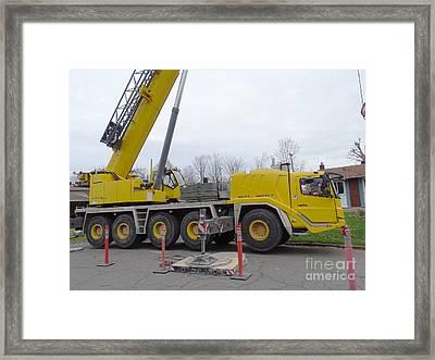 Mobile Crane Framed Print by Scimat