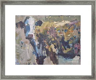 Modern Abstract Cow Painting Framed Print by Robert Joyner