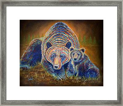 Momma Bear Framed Print by Teshia Art