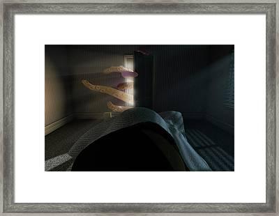 Monster Behind The Door Framed Print by Allan Swart