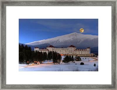 Moonrise Over The Mount Washington Hotel Framed Print by Ken Stampfer