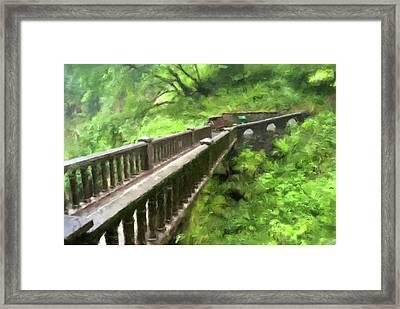 Multnomah Falls Bridge Framed Print by Gary Grayson