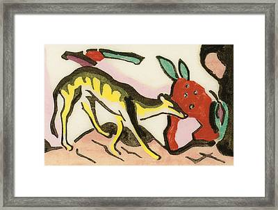 Mythical Animal Framed Print by Franz Marc