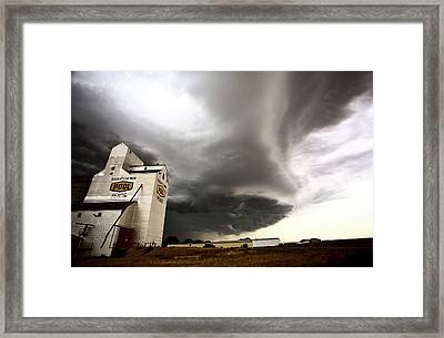 Nasty Looking Cumulonimbus Cloud Behind Grain Elevator Framed Print by Mark Duffy