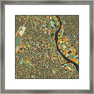 New Delhi Map Framed Print by Jazzberry Blue
