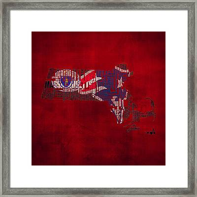 New England Patriots Typographic Map 02 Framed Print by Brian Reaves