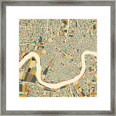 New Orleans Map Framed Print by Jazzberry Blue