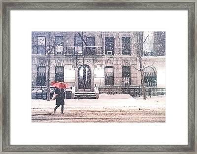 New York City Snow Framed Print by Vivienne Gucwa