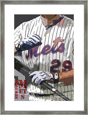 New York Mets Baseball Team And New Typography Framed Print by Pablo Franchi