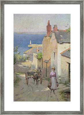 Newlyn From The Bottom Of Adit Lane Framed Print by Leghe Suthers