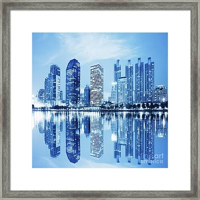 Water Reflections Framed Print featuring the photograph Night Scenes Of City by Setsiri Silapasuwanchai