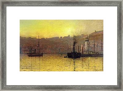 Nightfall In Scarborough Harbour Framed Print by John Atkinson Grimshaw
