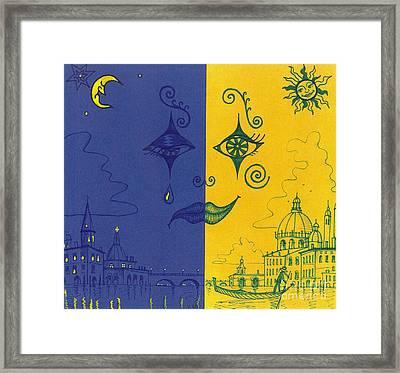 Nightime And Daytime In Venice Framed Print by Margaryta Yermolayeva