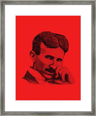 Nikola Tesla Framed Print by War Is Hell Store